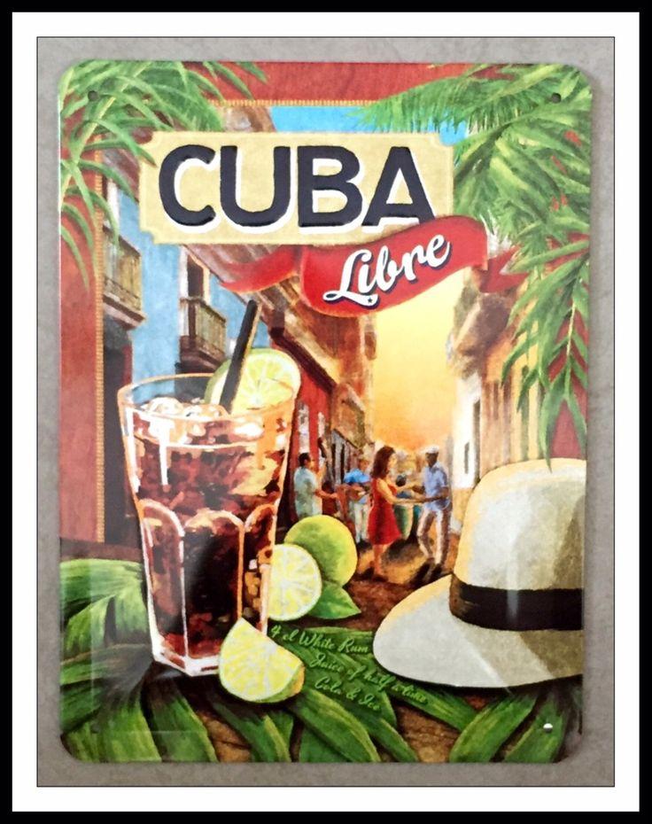 plaque métal relief cuba libre rhum pour décoration bar café rhumerie Havana club, Bacardi vintage rétro