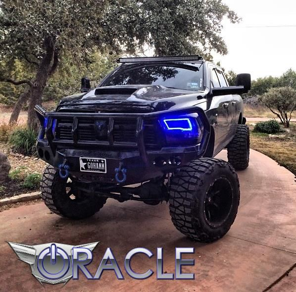 Dodge ram blue lifted truck