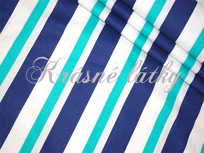 Pruhy modro modrý bílý š. 160cm 100% bavlna