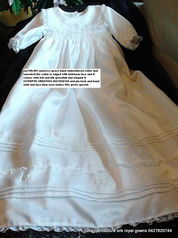 cutiepye princess grace is another heirloom gown $350 with hat and bib 0427820744