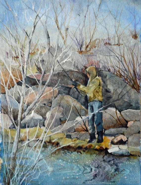 Fine Art Painting Fly Fishing Watercolor Original Ready To Ship