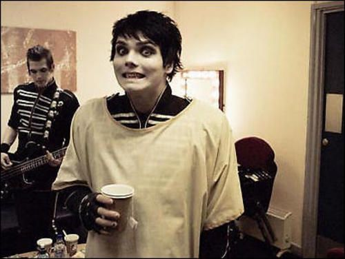 Gerard Way caffeinated and Mikey in the background. Just the fact he is caffeinated.