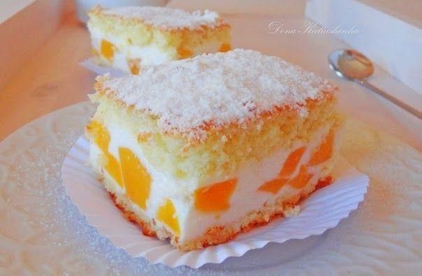 шеф-повар Одноклассники: Торт с нежнейшим кремом из творога, взбитых сливок и персиков