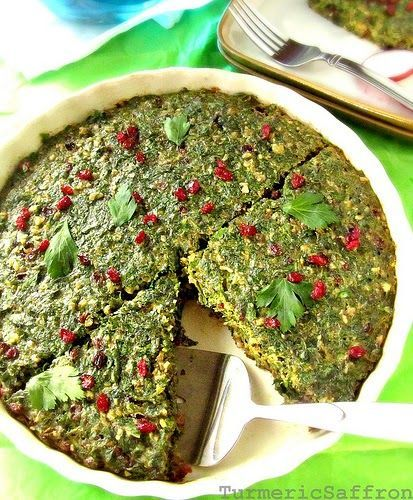 Kookoo sabzi is another vegetable dish served during the Persian New Year (Nowruz) celebration. It's also a great one meal vegetarian...