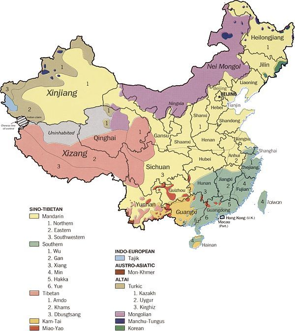 This map shows the different languages spoken in China.