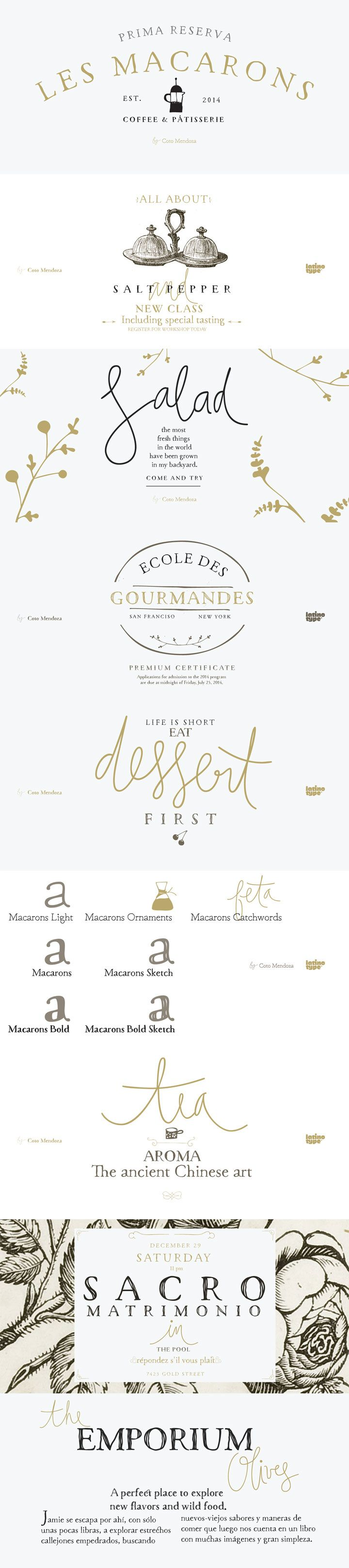 Good mix of fun but elegant.     Macarons font family by Coto Mendoza for Latinotype - 5 Garamond inspired typefaces, plus script catchwords, and ornaments. Perfect for bistros, cupcake bakeries, food packaging, wine labels, cookbooks, menus, wedding invitations. Scrumptious!