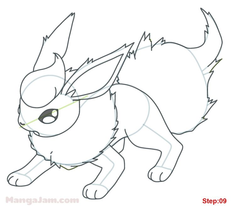 How to Draw Flareon from Pokemon step 09