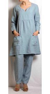 Cut Loose Clothing Cargo Dress Hydrangea Linen
