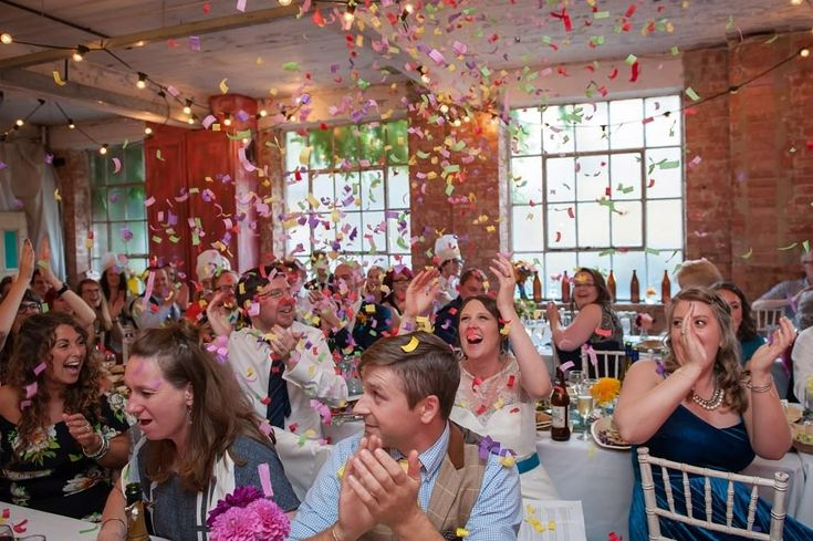 Confetti blast gun surprise at One Friendly Place | Kat Forsyth London Wedding Photographers