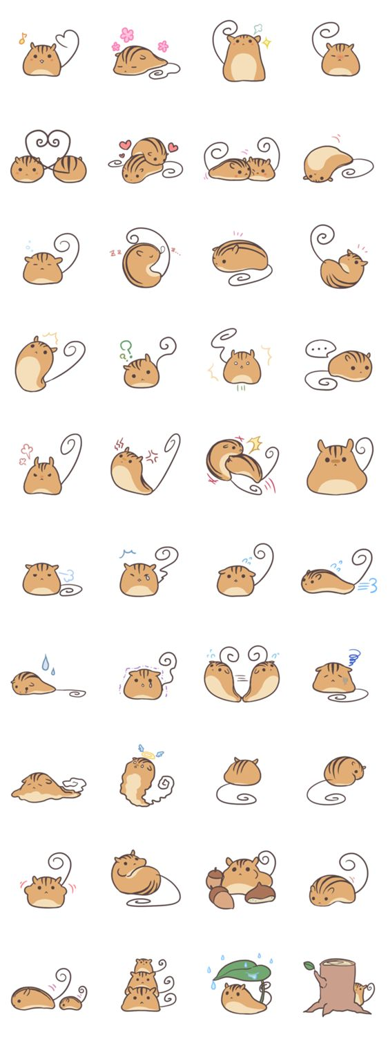Be still my heart - adore the many poses, simple form for these illustrations. Great concepts!!  Credit: Developer: SouyaTouki || Sticker packet name: Kutarisu
