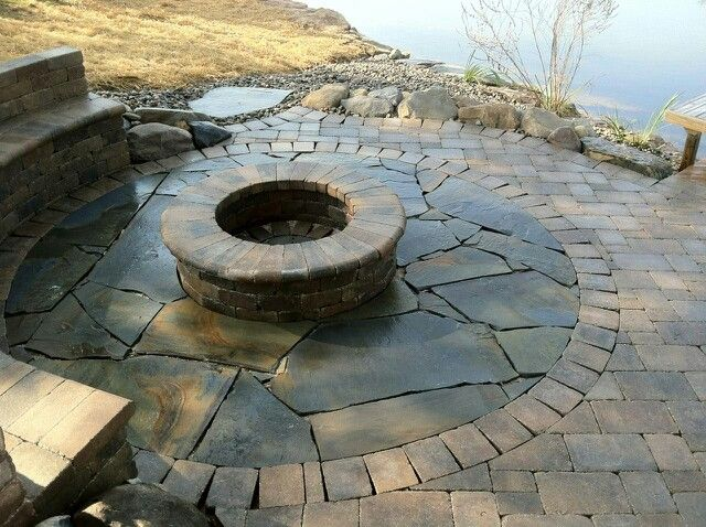 Lakeside Fire Pit With Bench Seating Landscaping