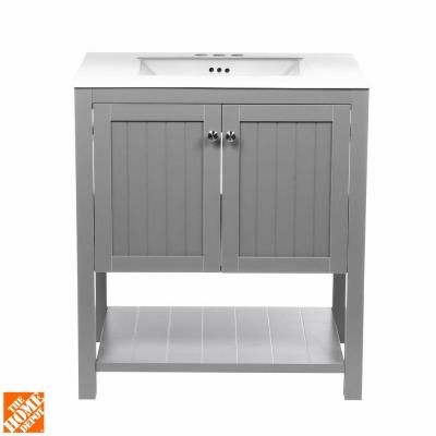 Home Decorators Collection Cranbury 30 in. Vanity in Cool Gray with Vitreous China Vanity Top in White