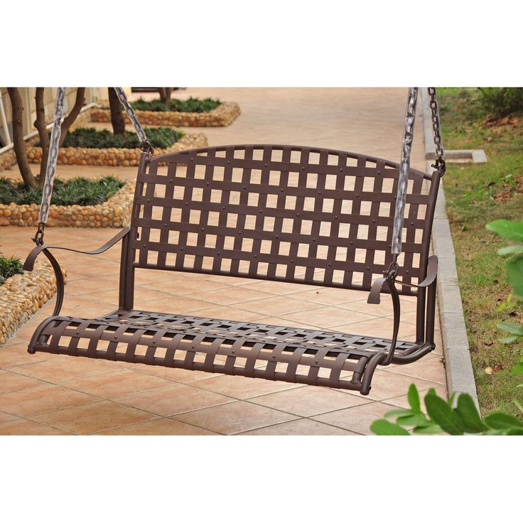 International Caravan Santa Fe Iron Outdoor Porch Swing