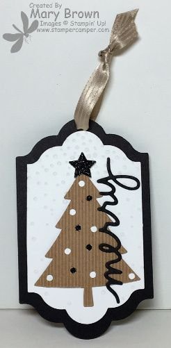 stamercamper.com - Christmas Tag - The Create with Connie and Mary Design Team Saturday Blog Hop challenge was to make a Christmas Tag.  I decided to go super simple with mine and used a couple things that were leftovers from other projects!  All the details on my blog.  Perfect Pines Framelits