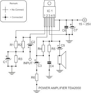 circuit diagram tda2050 power amplifier | electronics | pinterest, Circuit diagram