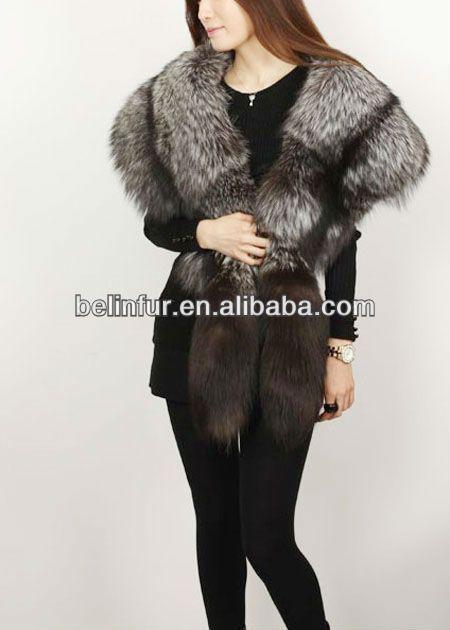 popular,big fox fur collar,silver fox fur shawl K053