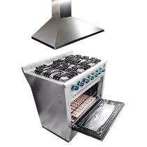 Combo Cocina Industrial Fornax + Campana Extractora 90 Cm