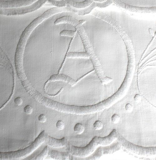 White embroidery. Letter A monogram.
