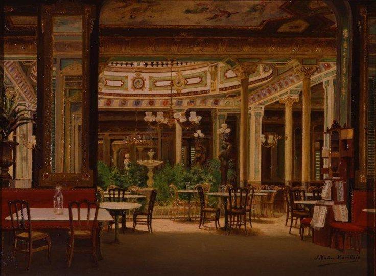 """""""Antiguo café de Madrid"""", Joaquin Muñoz Morillejo, Mayo 1921. Aspecto del interior del desaparecido Café de Madrid, situado cerca de la Puerta del Sol."""
