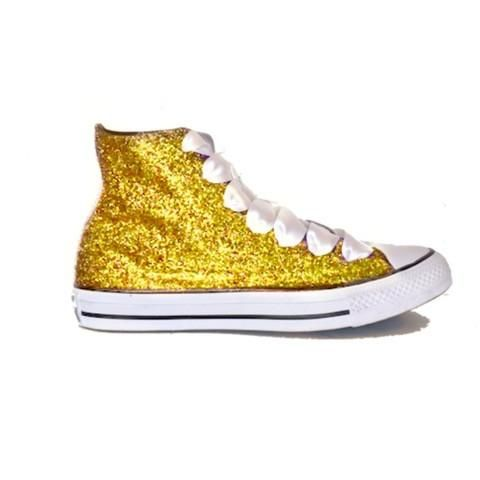cfb2a4b96833 Womens Glitter Bling Crystals Converse All Stars Yellow Gold High Top  Wedding Bride Prom Shoes