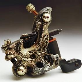 Custom Handmade Damascus Copper Tattoo Machine Gun tattoo-gun-kits