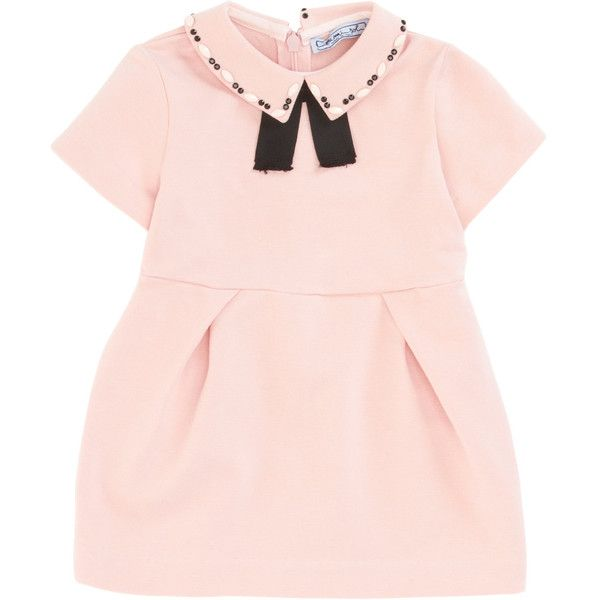 Mimisol Jeweled Collar Dress (€170) ❤ liked on Polyvore featuring dresses, pink dress, embelished dress, pale pink dresses, pink short sleeve dress and jeweled dresses