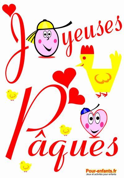 Joyeuses Pâques dessin de PAQUES poule poussins et petit coeur d'amour