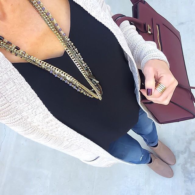 Neutral Cardigan + black cami + layered necklace + jeans + taupe booties + burgundy handbag [IG:@ontheDailyX] Click through for outfit details