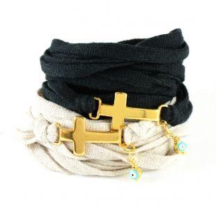 Βραχιόλια, Επιχρυσωμένο, Cross with Ribbon