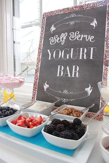 Yogurt with flavorings, fruit, nuts, and granola