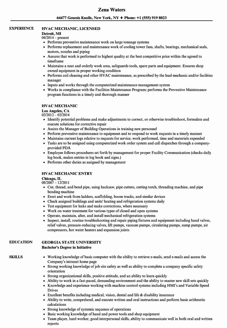 Hvac Technician Job Description Resume Lovely Hvac