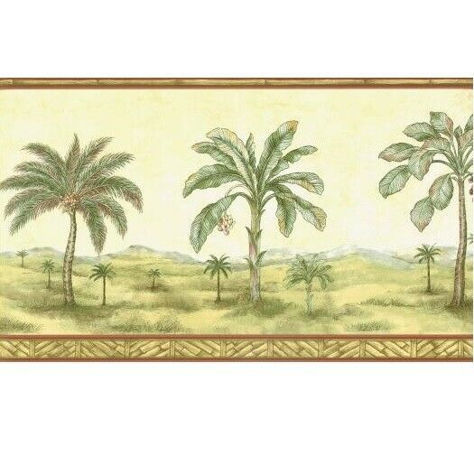 Brewster Bamboo Palm Tree Wallpaper Border Tawny Desert