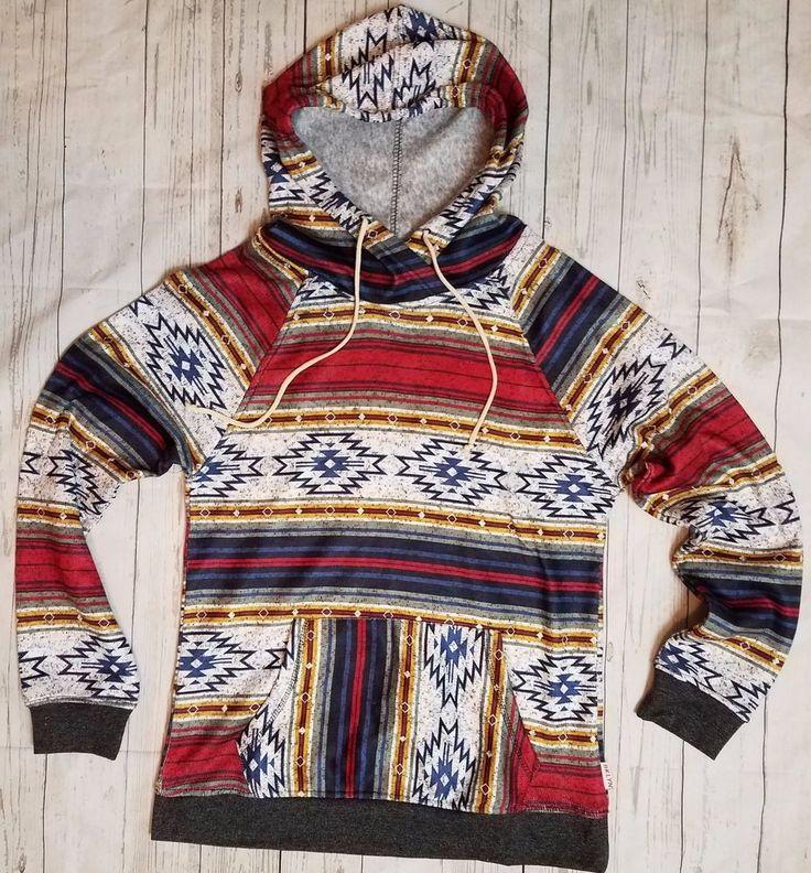 Southwestern Tribal Aztec Print Hoodie Mens Unisex Hooded Top Shirt NWT XL #BROOKLYN #Hoodie