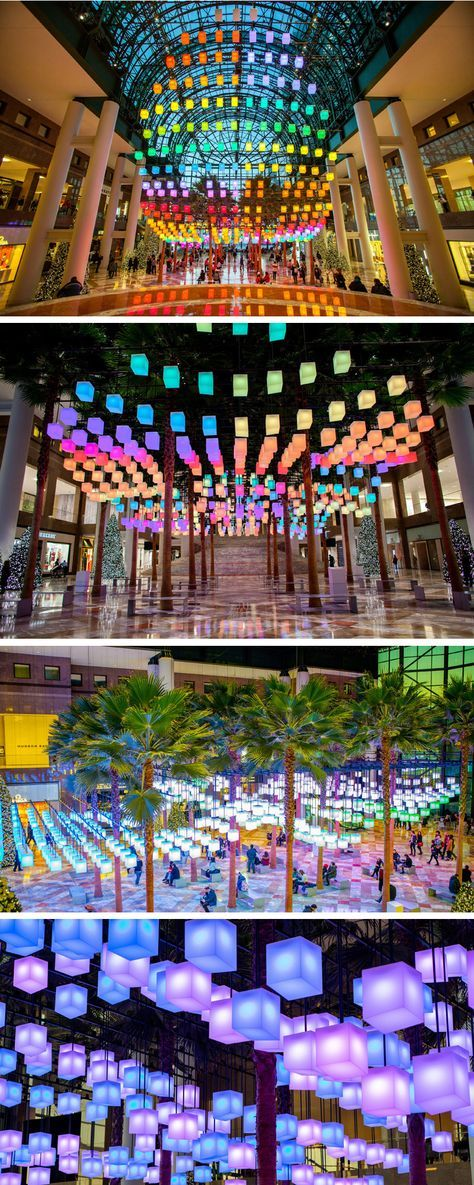 """Arts Brookfield together with architect and designer David Rockwell, have created a lighting installation named """"Luminaires,"""" that just opened to the public at Brookfield Place in New York City."""