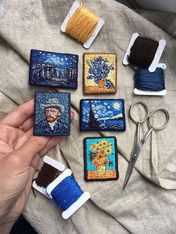 Vincent Van Gogh Starry Nacht-Hand-Stickerei-Brosche, berühmte Gemälde Textile Kunst Schmuck, Van-Gogh-Stickerei-Kunst-Brosche, Kunst-Lehrer-Geschenk