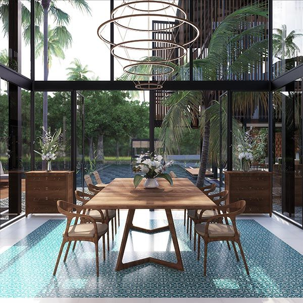 View of the dining room overlooking the pool Waikiki Waterscape Resort, Vengurla - Architecture BRIO, India #rendering #sustainablearchitecture #tropicalarchitecture #steelwindows