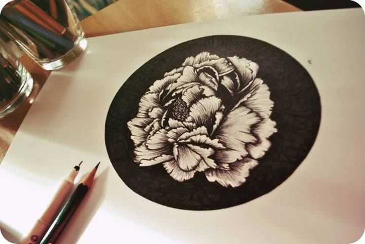 Peony drawing More here: https://www.facebook.com/pages/Olenka/647167888679052