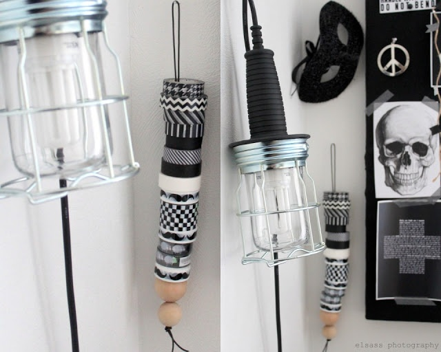 DIY: Washi tape stand: leather strap with wooden beads