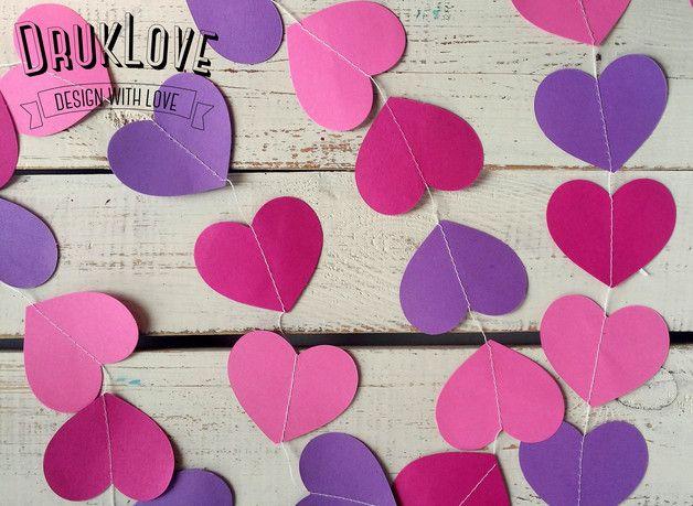 Baner, girlanda z serc - różowo fioletowa 4m! - DrukLove - Girlandy ślubne