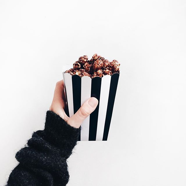 Movie time. #chocolatepopcorn #acnestudios