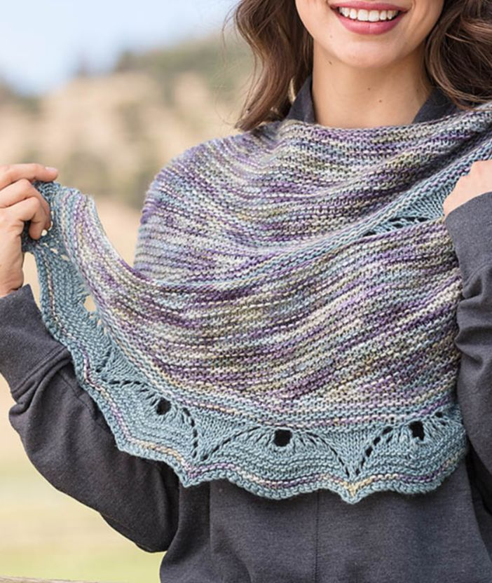 Knitting Stitch Patterns For Variegated Yarn : 417 best Shawl Knitting Patterns images on Pinterest Knitting patterns, Pon...