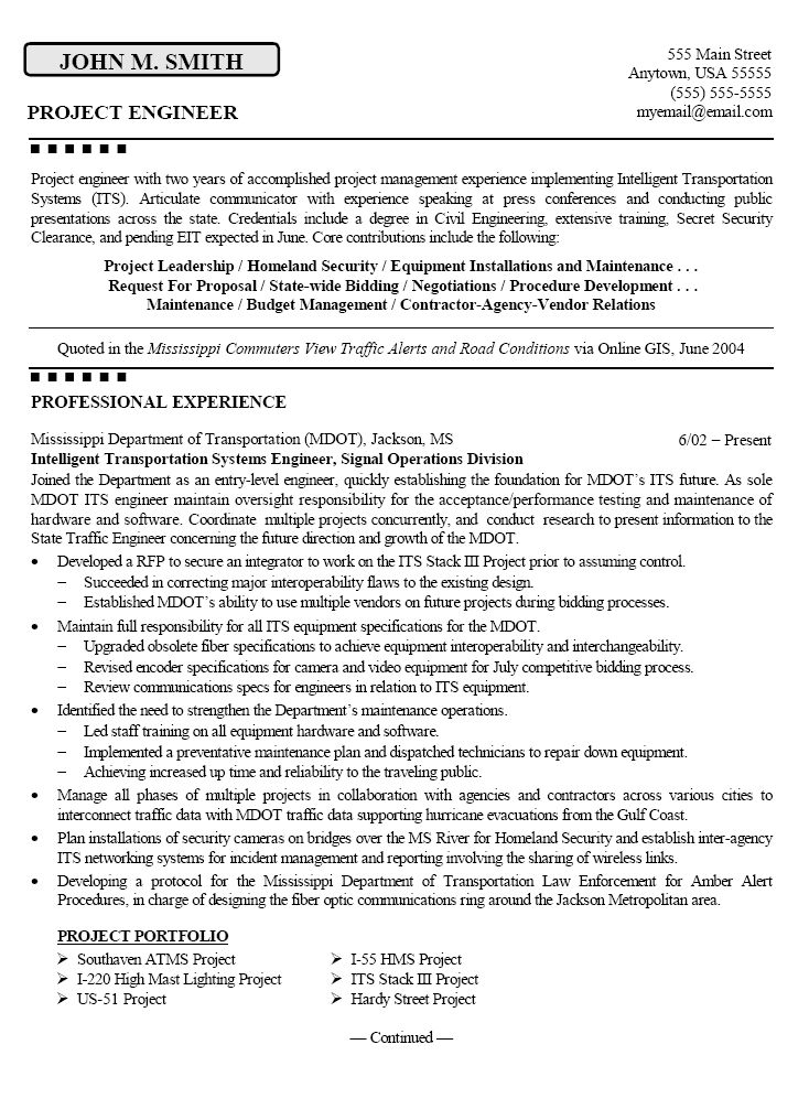 sample resume civil project engineer - Template