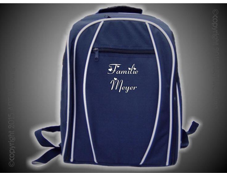 Picknick-Rucksack blau mit Motiv/Spruch von Jajis-ART auf DaWanda.com