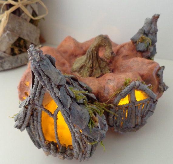 Fairy house Whimsical pumpkin house Halloween Jack by TurquoiseBun