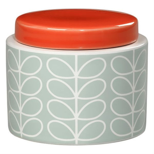 Orla Kiely Small Duck Egg Storage Jar (920 UAH) ❤ liked on Polyvore featuring home, kitchen & dining, food storage containers, lidded jar, sugar jar, colored jars and tea jar