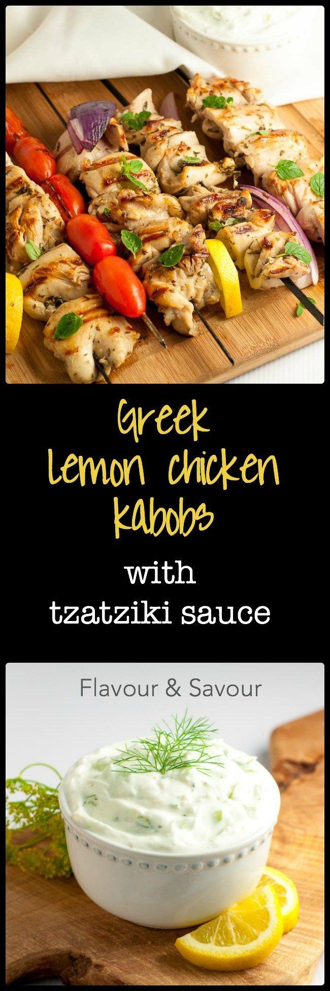 Greek Lemon Chicken Kabobs with homemade Tzatziki Sauce. Fresh herbs, lemon, garlic and red wine vinegar make a fabulous marinade for juicy, succulent chicken skewers. |www.flavourandsavour.com