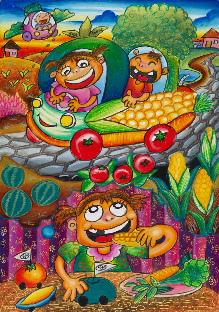 'Vegetable Car. The Vegetable car is my dream car of the future. This car, shaped like vegetables, looks funny, unique, and even runs on eco friendly fuel.' by Angelia Yunita #KidsArt #ToyotaDreamCar