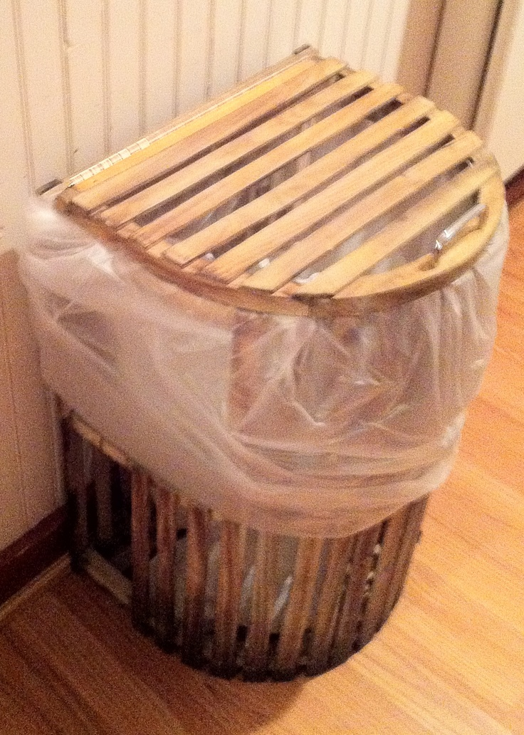 A lobster trap trash can, seen in a restaurant in Belfast, Maine. Neat idea!