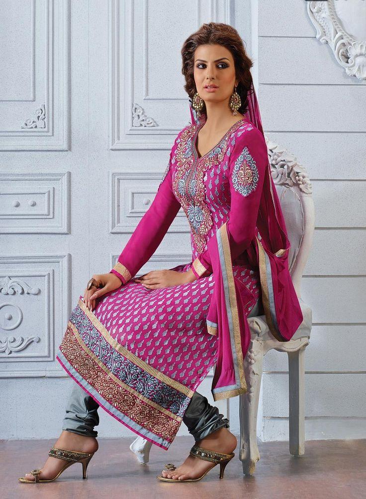 designer Magenta straight punjabi suit in brasso D15423
