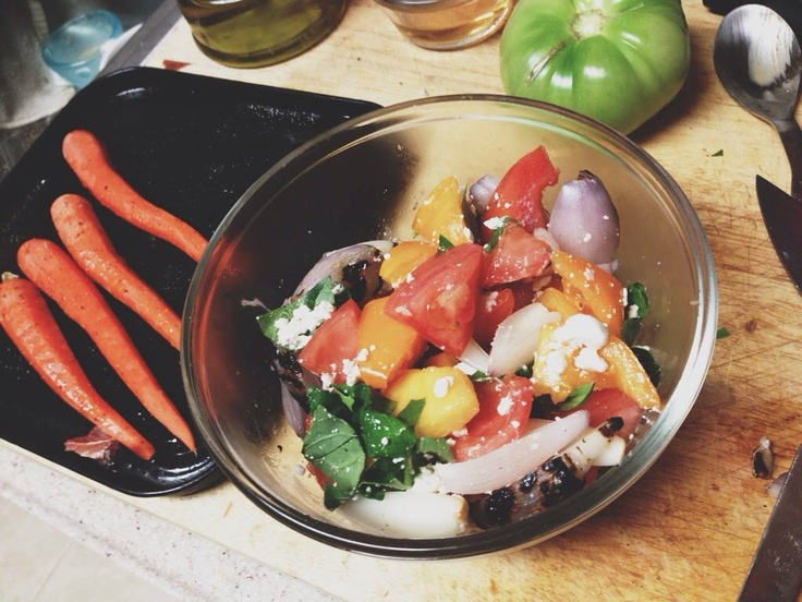 Simple panzanella salad Fresh Tomatoes, Grilled Shallots, Goat Cheese ...